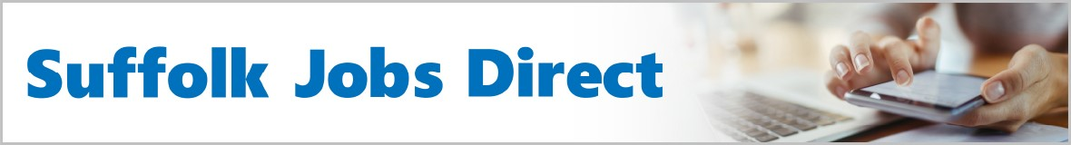 Suffolk Jobs Direct logo and picture of hands holding a mobile